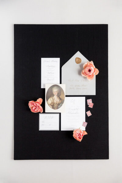 Bark-and-Berry-Black-Linen-styling-boards-for-wedding-stationery-bouquet-detail-shot-001
