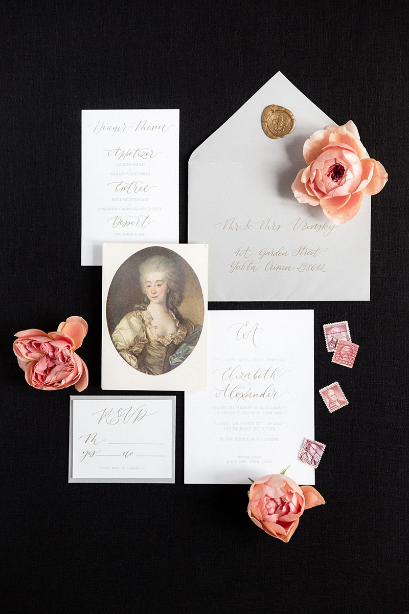 Bark-and-Berry-Black-Linen-styling-boards-for-wedding-stationery-bouquet-detail-shot-002