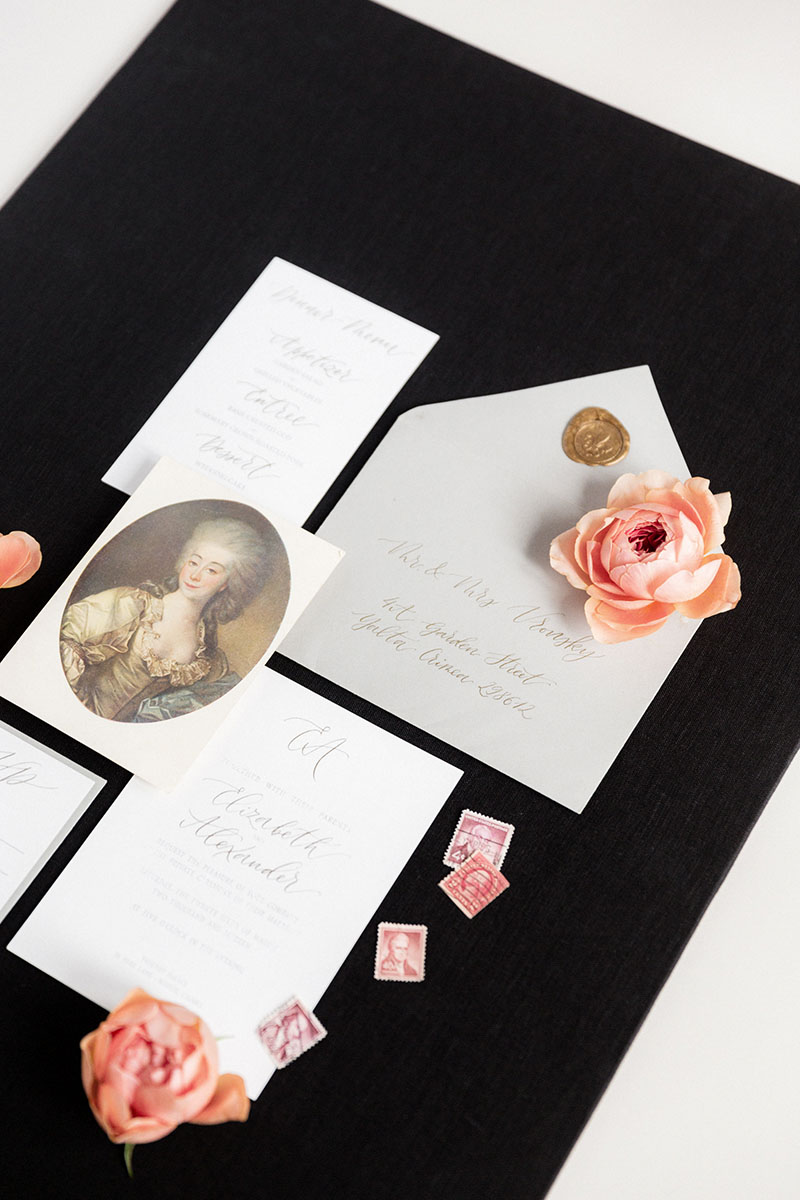 Bark-and-Berry-Black-Linen-styling-boards-for-wedding-stationery-bouquet-detail-shot-003