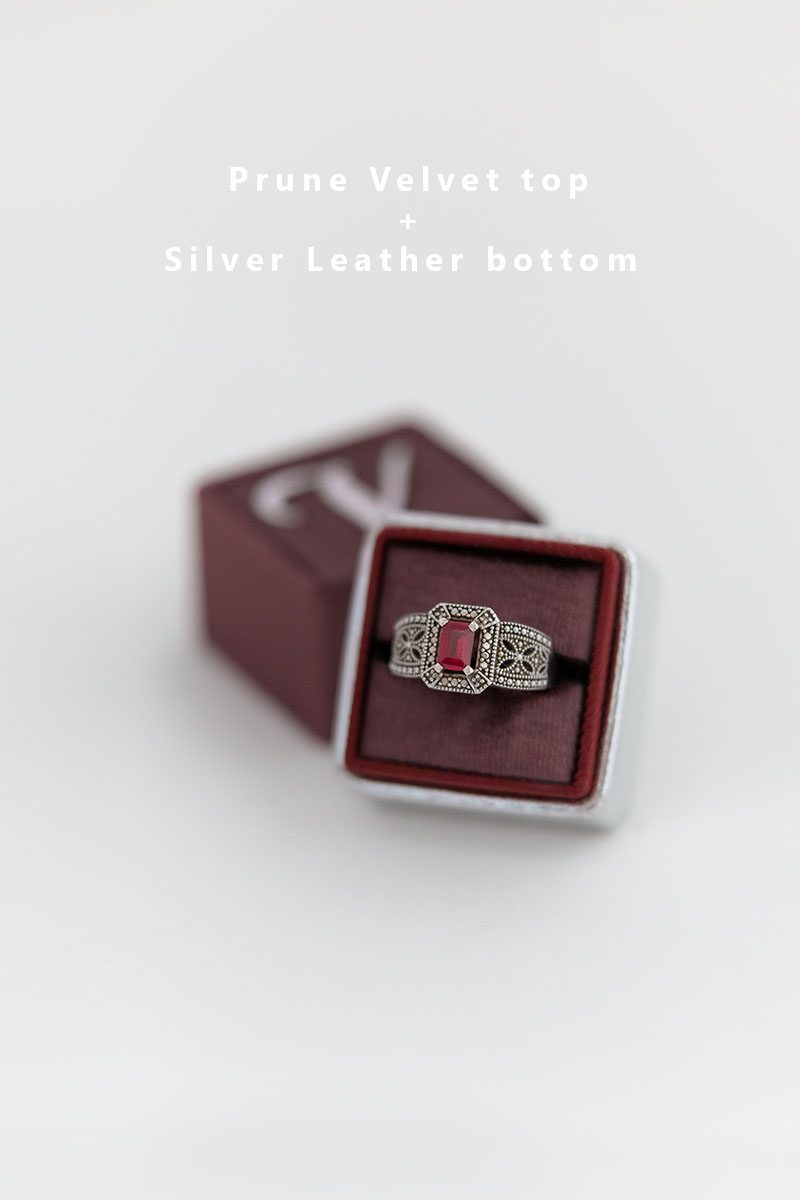 Bark-and-Berry-Prune-Silver-double-slot-vintage-wedding-embossed-monogram-velvet-leather-ring-box-002