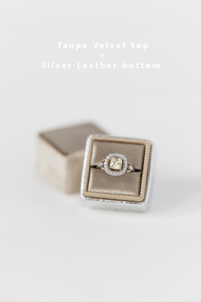 Bark-and-Berry-Taupe-Silver-double-slot-vintage-wedding-embossed-monogram-velvet-leather-ring-box-002