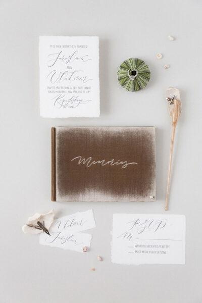 Bark-and-Berry-Taupe-vintage-velvet-wedding-embossed-monogram-guest-book-photoalbum-001