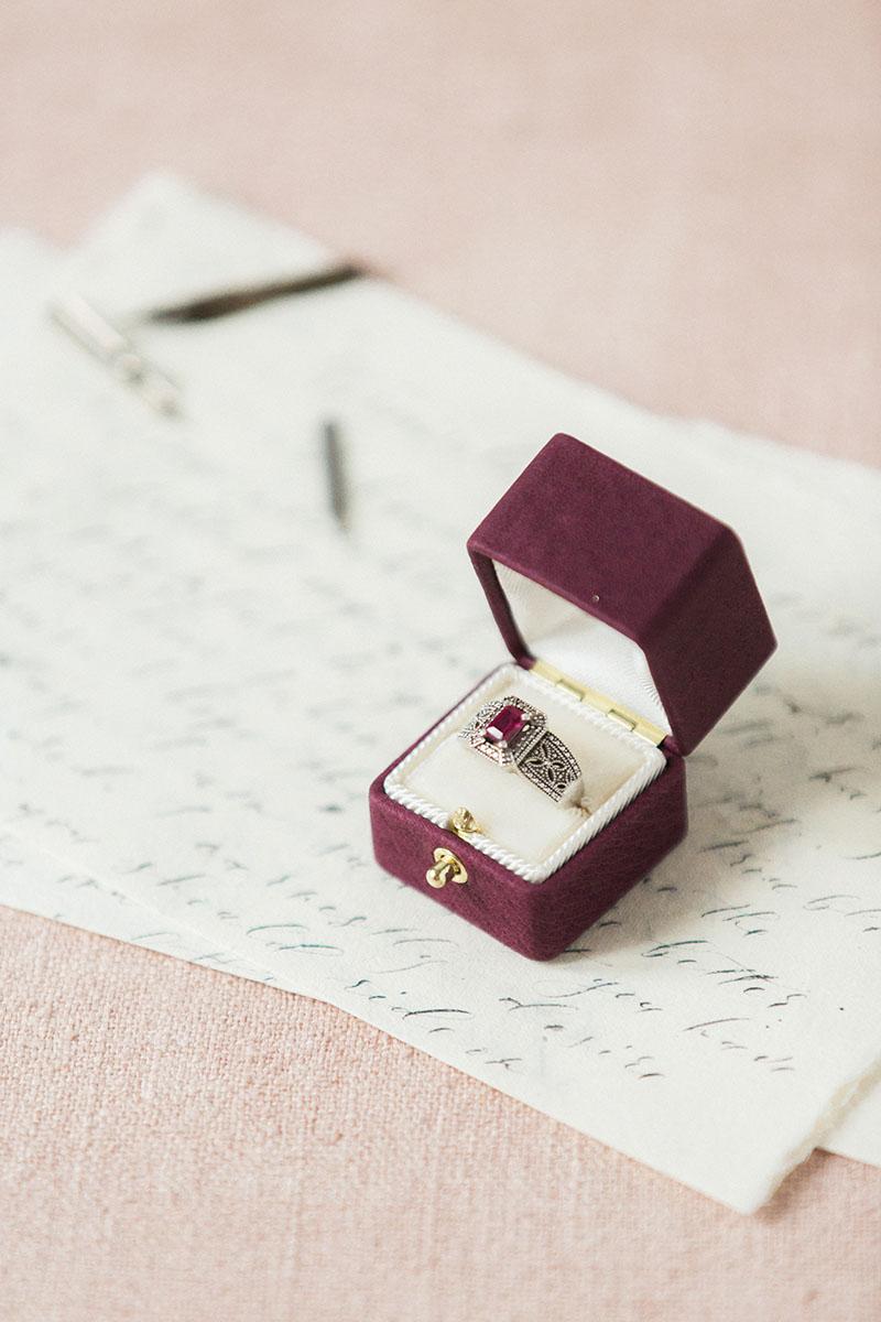 Bark-and-Berry-Victoria-vintage-wedding-embossed-monogram-velvet-leather-ring-box-002