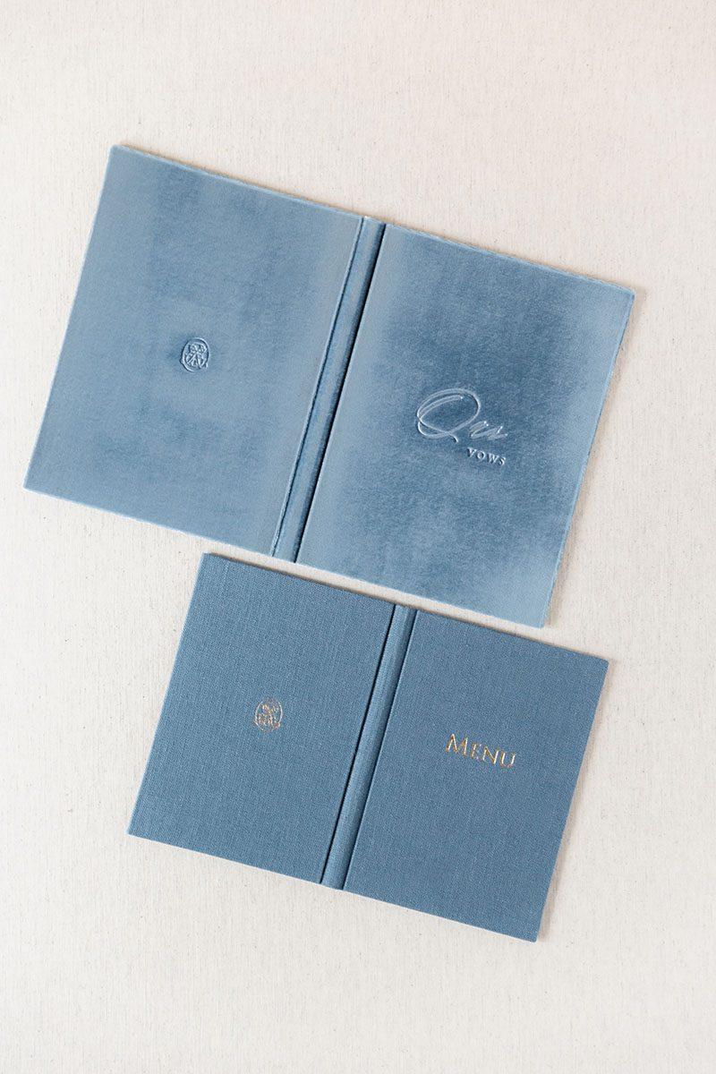 Bark-and-Berry-Lake-Stone-vintage-linen-velvet-wedding-embossed-monogram-vows-folder-book-001