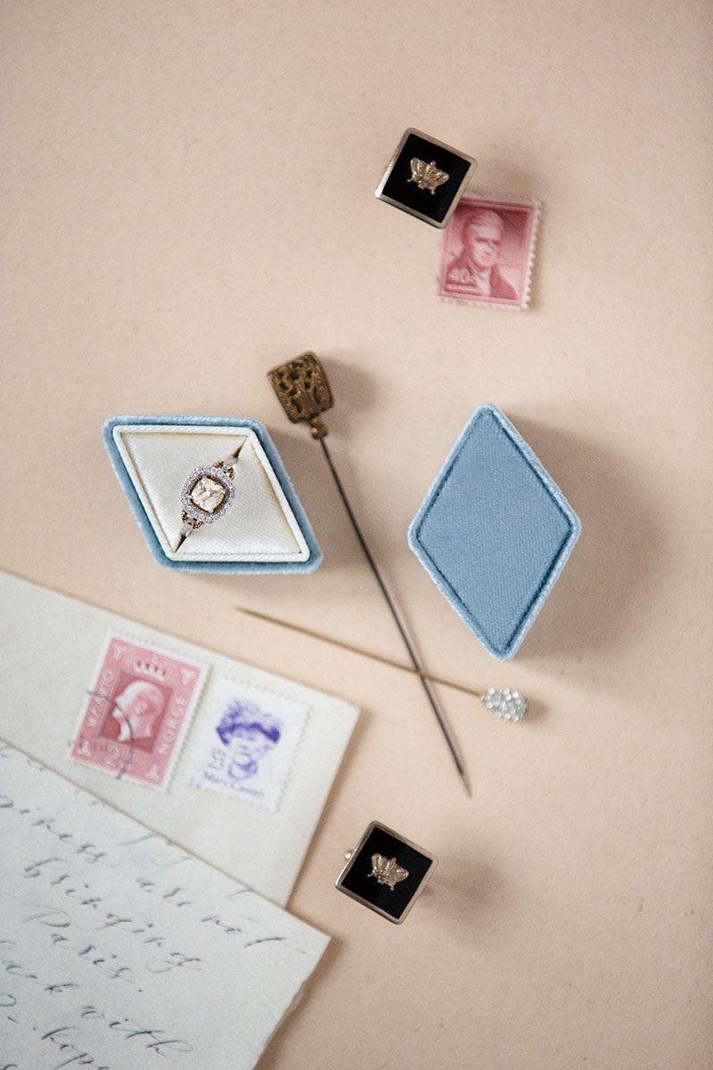 Bark-and-Berry-Lake-vintage-wedding-embossed-monogram-diamond-velvet-ring-box-003