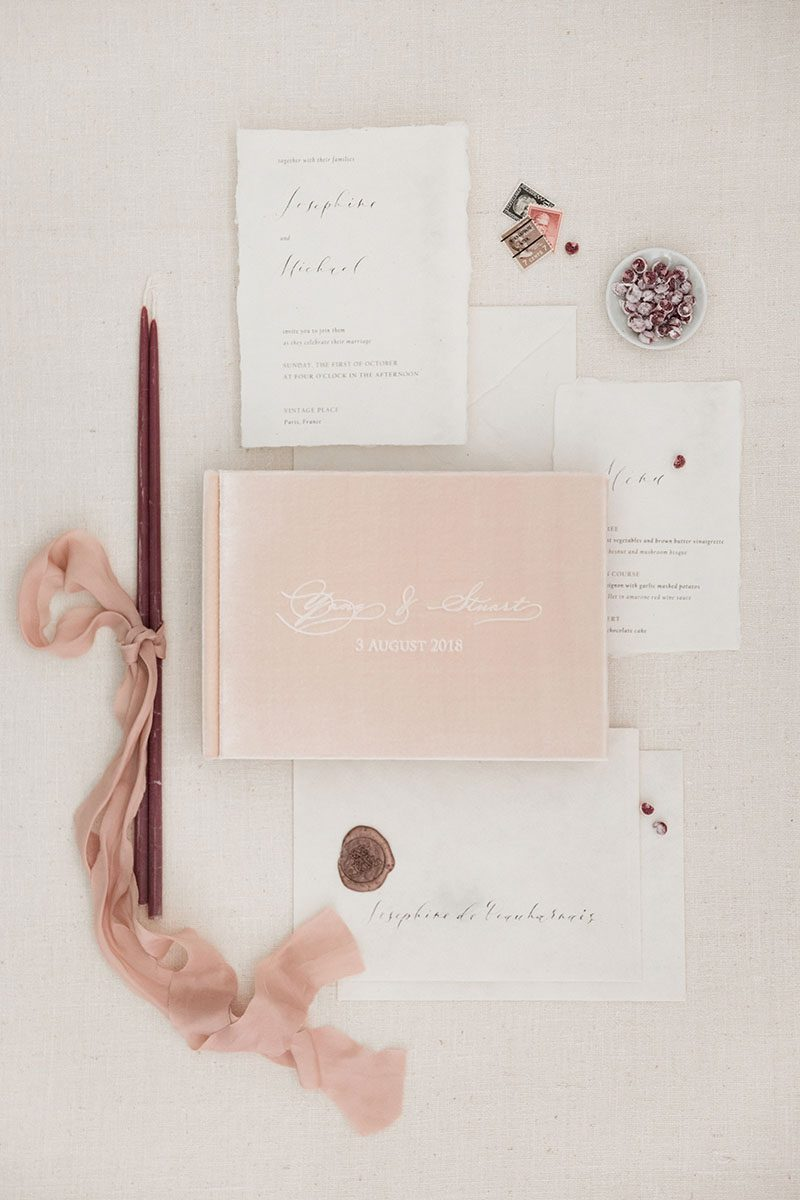 Bark-and-Berry-Blush-vintage-velvet-wedding-embossed-monogram-guest-book-photoalbum-005