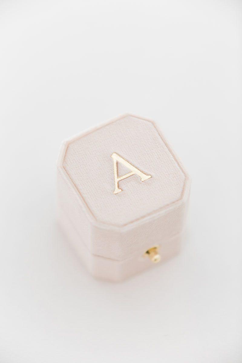 Bark-and-Berry-Blush-vintage-wedding-embossed-monogram-octagon-velvet-ring-box-with-lock-002