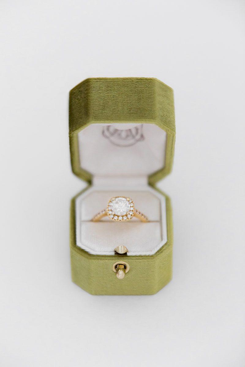 Bark-and-Berry-Olive-vintage-wedding-embossed-monogram-octagon-velvet-ring-box-with-lock-001