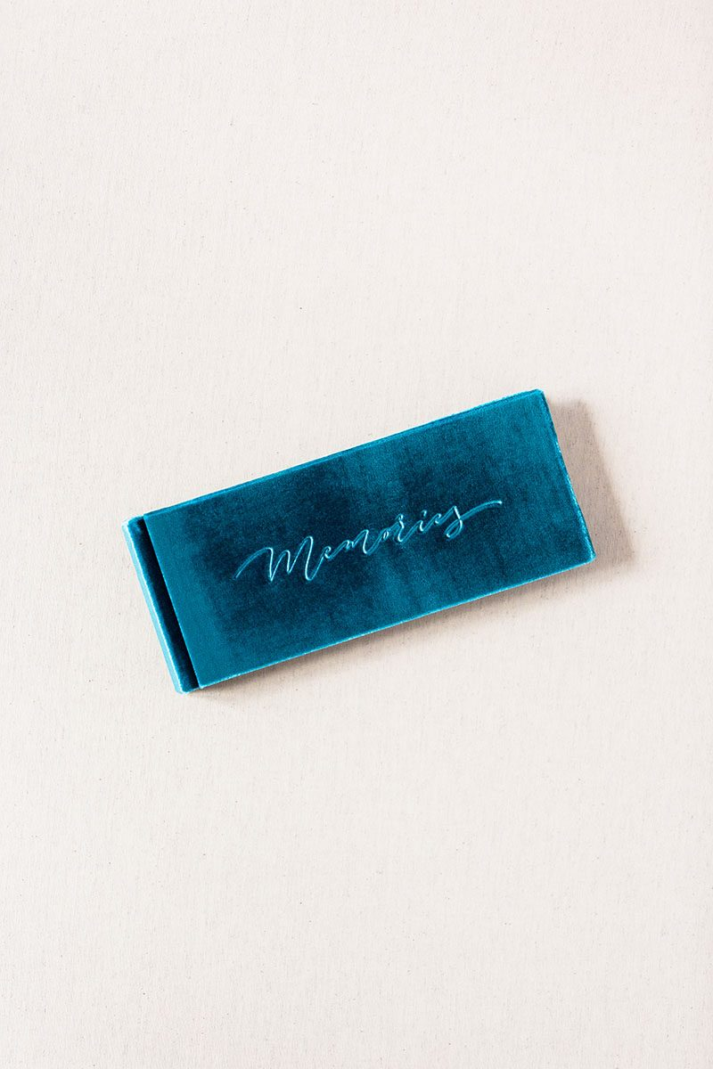 Bark-and-Berry-Teal-Blue-vintage-velvet-wedding-embossed-monogram-guest-book-21x8cm-001