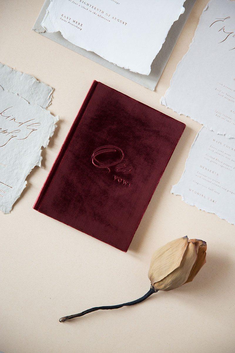 Bark-and-Berry-Wine-vintage-velvet-wedding-embossed-monogram-vertical-guest-book-002