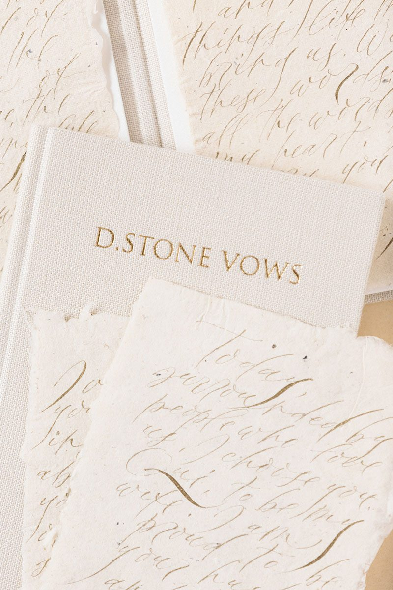 Bark-and-Berry-Sand-vintage-linen-wedding-embossed-monogram-vows-folder-book-013