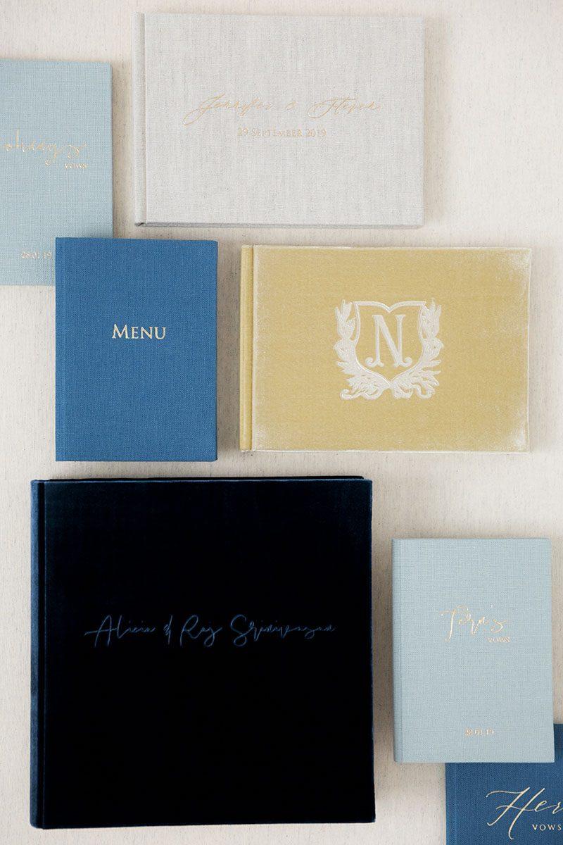 Bark-and-Berry-Mix-vintage-velvet-linen-wedding-embossed-monogram-guest-book-folders-album-vows-book-001