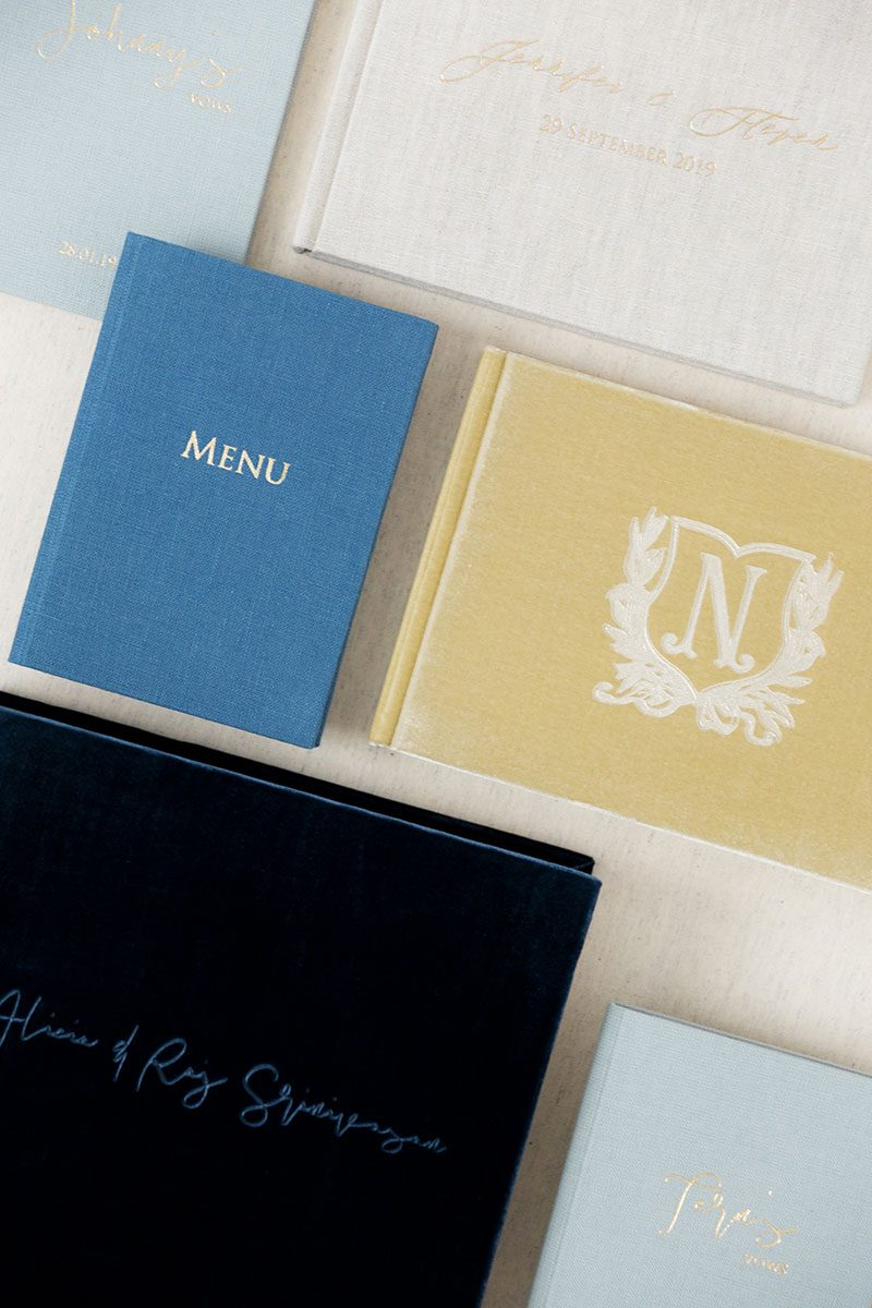 Bark-and-Berry-Mix-vintage-velvet-linen-wedding-embossed-monogram-guest-book-folders-album-vows-book-003