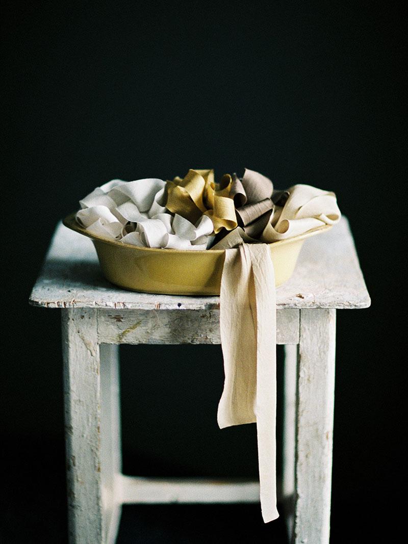 Шелковая лента для букета окрашенная вручную растениями и натуральными красителями bias cut habotai silk ribbon