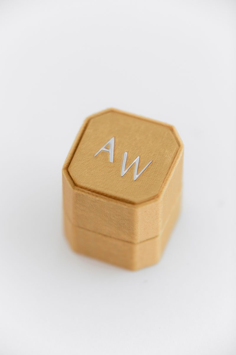 knob lock and loop Velvet octagon ring box  monogram embossing