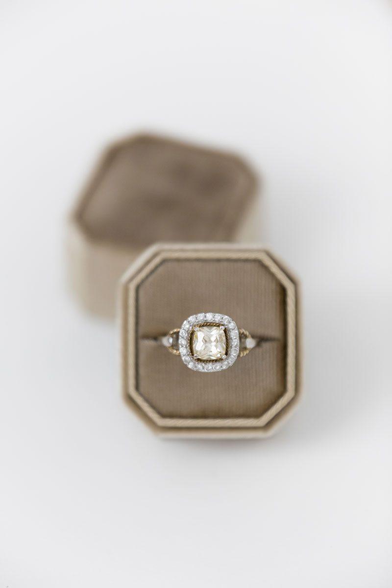Bark-and-Berry-Taupe-double-slot-vintage-wedding-embossed-monogram-octagon-velvet-ring-box-001-2