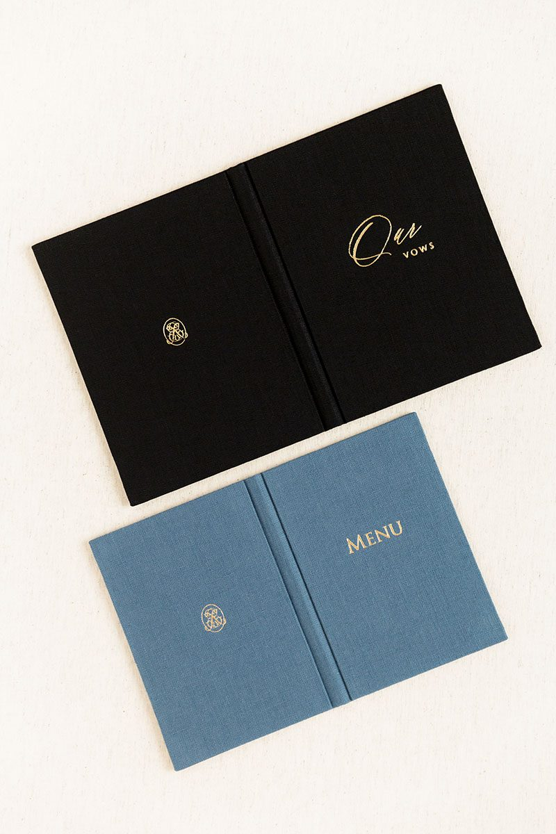Bark-and-Berry-Coal-Stone-vintage-linen-wedding-embossed-monogram-vows-folder-book-001