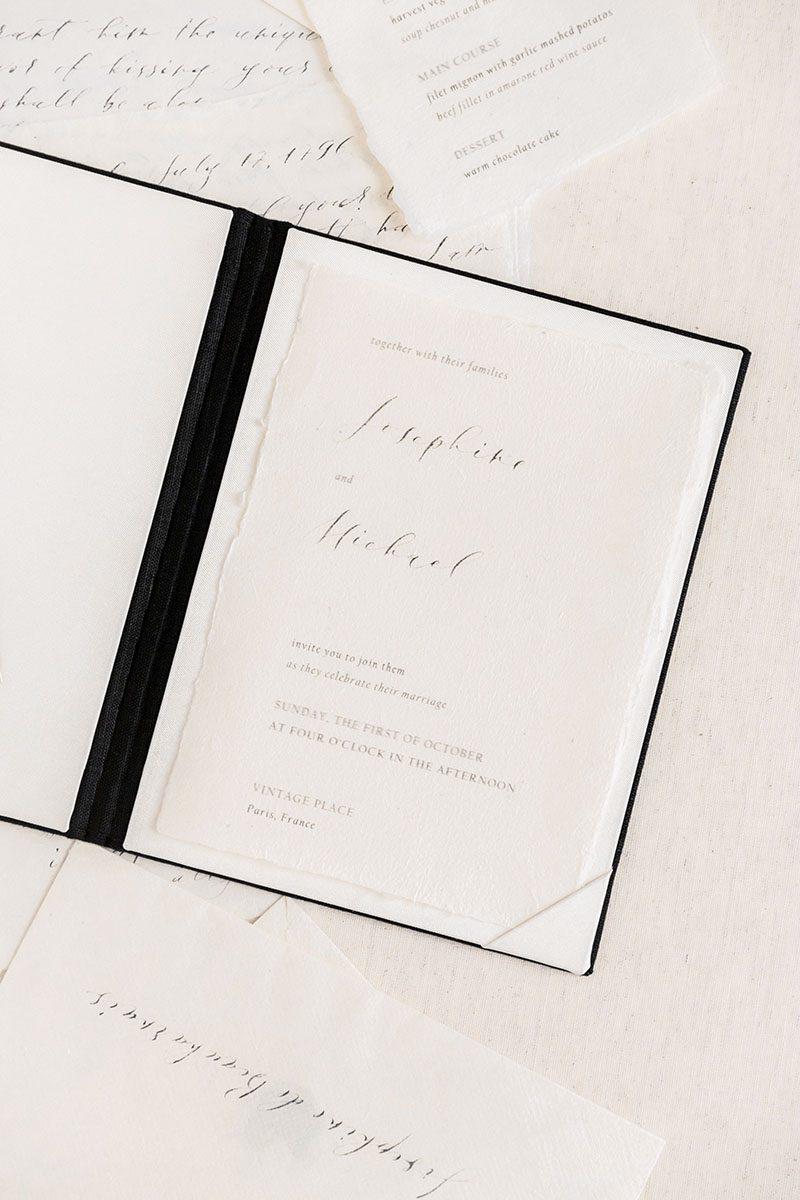 Bark-and-Berry-Coal-vintage-linen-wedding-embossed-monogram-vows-folder-book-002
