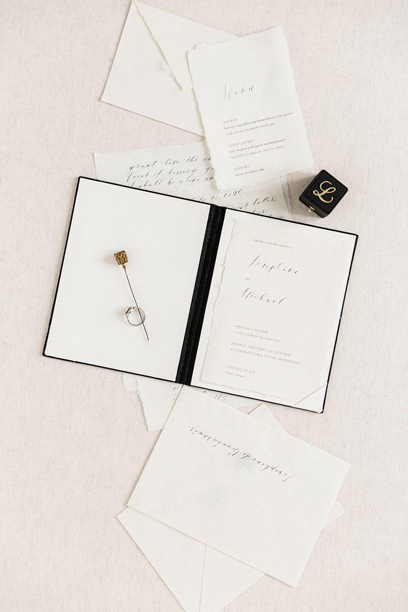 Bark-and-Berry-Coal-vintage-linen-wedding-embossed-monogram-vows-folder-book-005