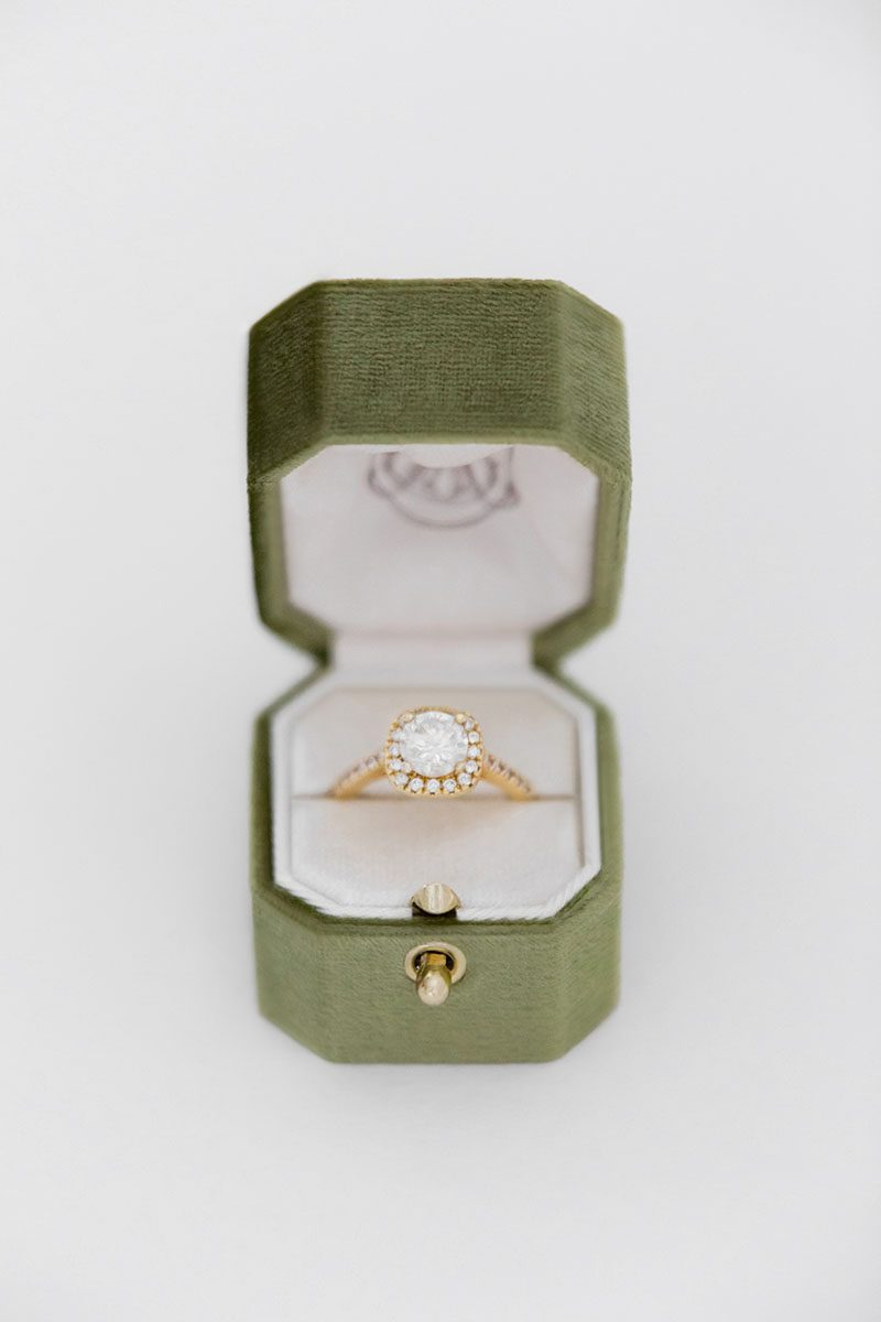 Bark-and-Berry-Moss-vintage-wedding-embossed-monogram-octagon-velvet-ring-box-with-lock-001