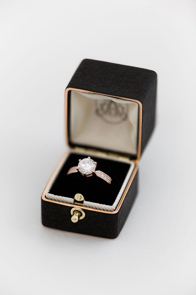 lock and loop leather suede wedding ring box top monogram embossing