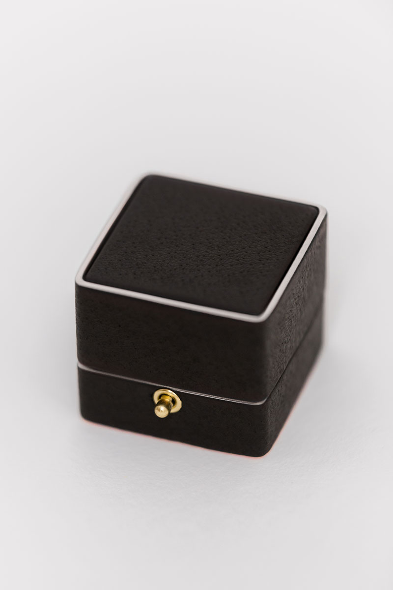 traditional engagement ring box for the bride leather monogram knob lock and loop