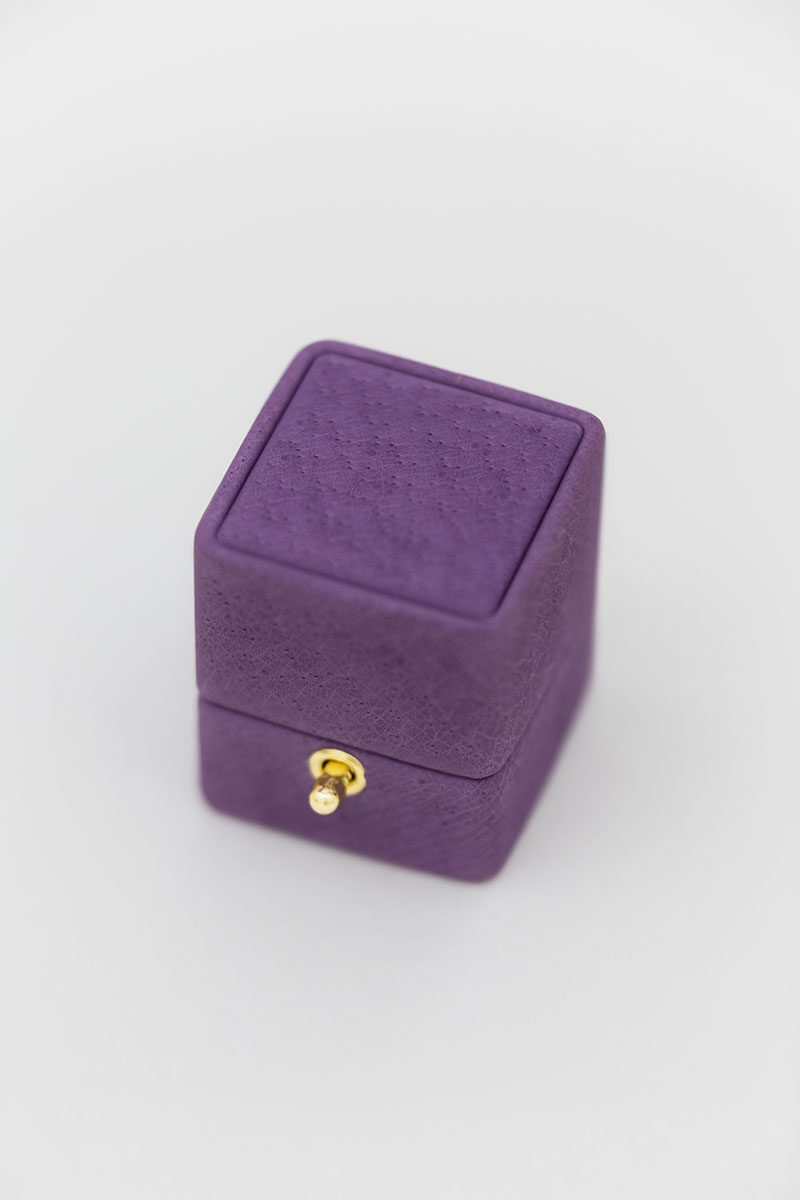 lock and loop ring box traditional leather suede wedding gift