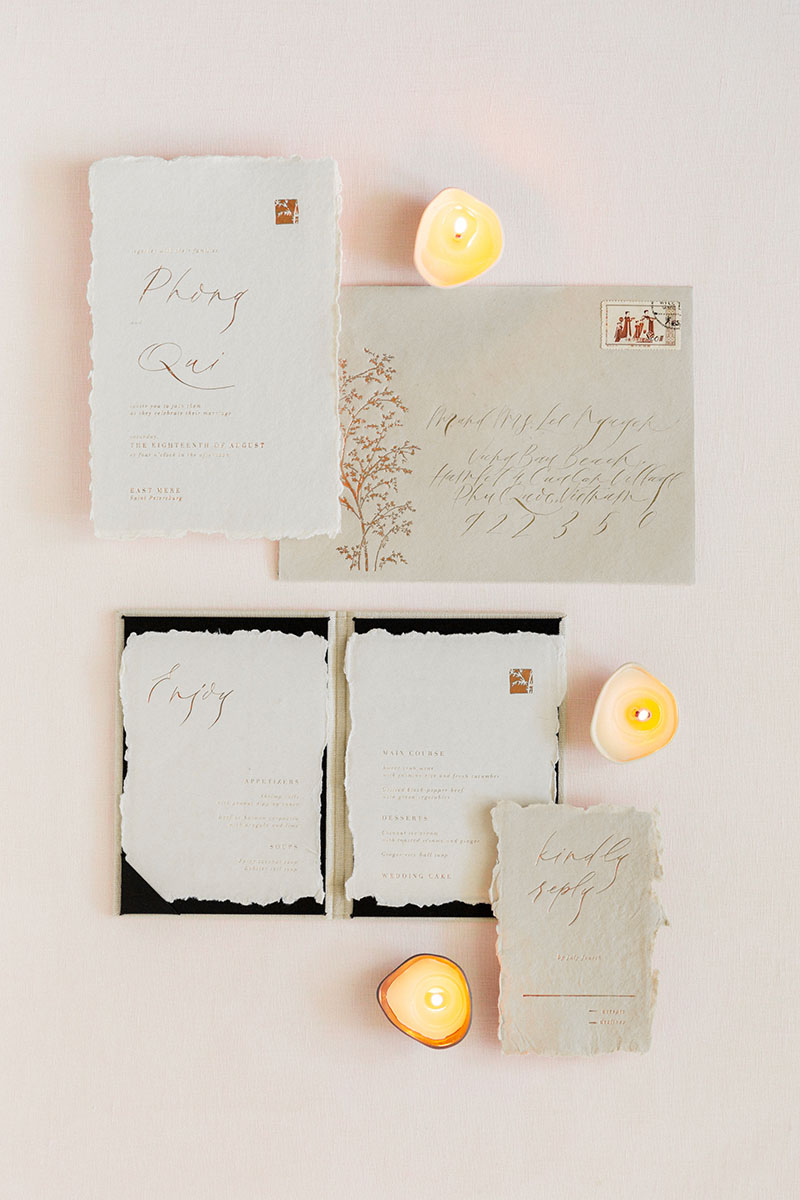 Linen styling boards for wedding stationery bouquet detail shot fine art