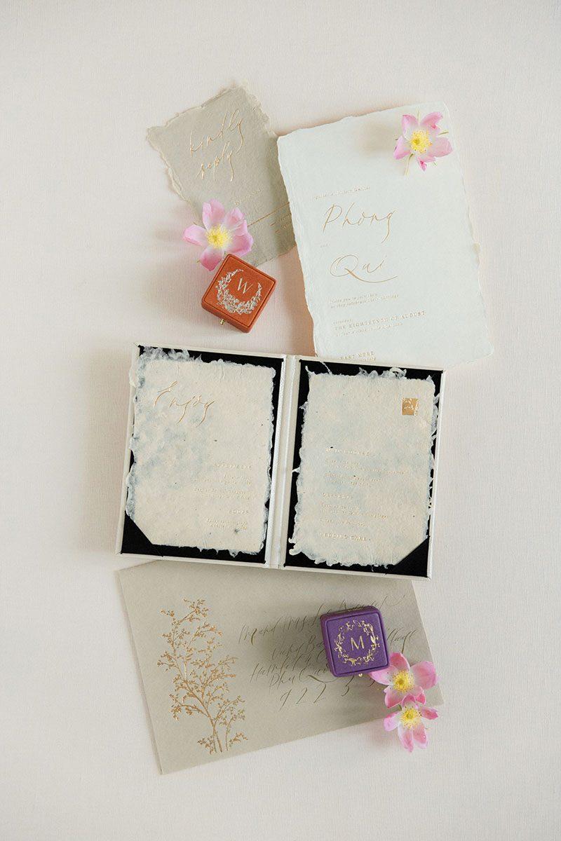 Linen styling boards for wedding stationery bouquet detail shot fine art