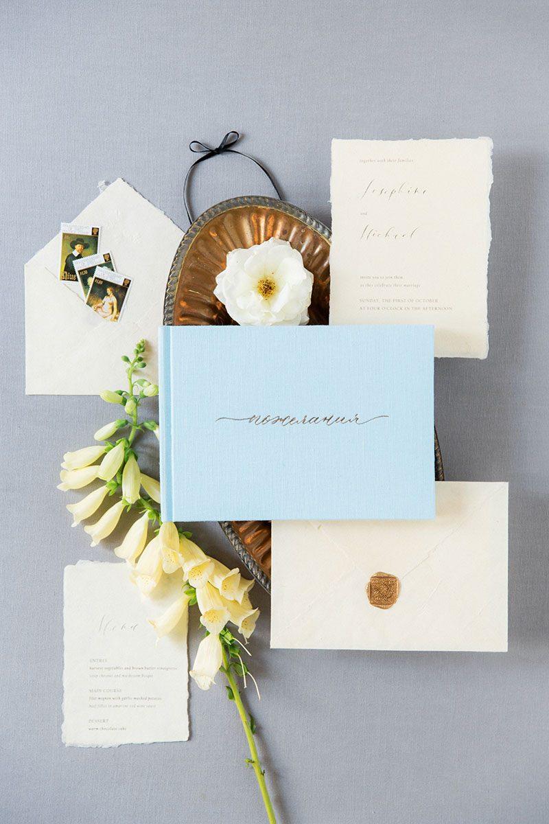Bark-and-Berry-Azure-vintage-wedding-embossed-monogram-linen-guest-book-004
