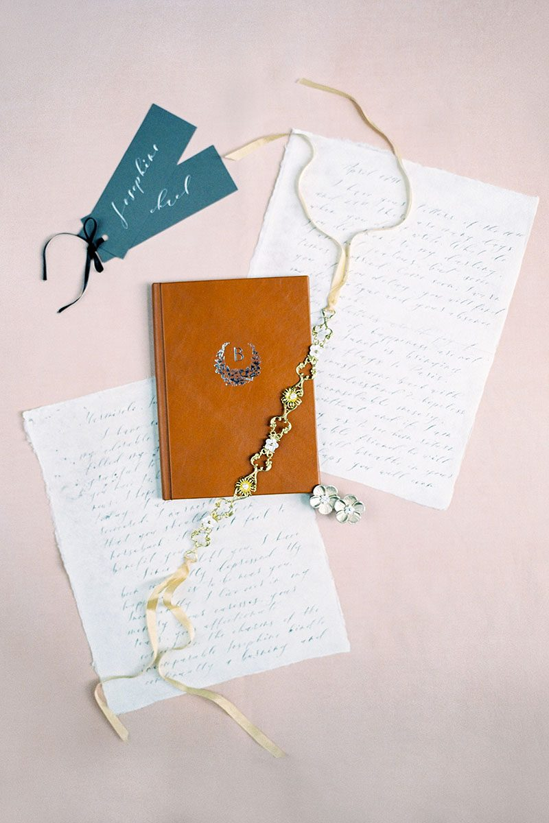 Bark-and-Berry-Alix-vintage-leather-wedding-embossed-monogram-vows-folder-book-001
