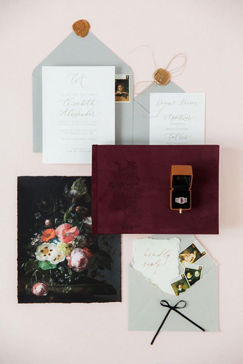 Bark-and-Berry-Victoria-vintage-genuine-suede-wedding-embossed-monogram-guest-book-001