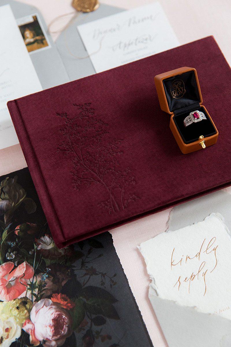 Bark-and-Berry-Victoria-vintage-genuine-suede-wedding-embossed-monogram-guest-book-002