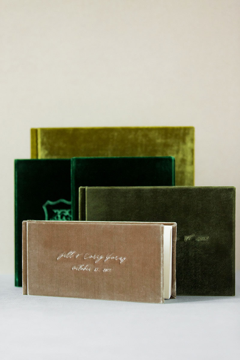 Bark-and-Berry-Olive-Eden-Moss-Taupe-vintage-velvet-wedding-embossed-monogram-guest-book-photoalbum-vows-004