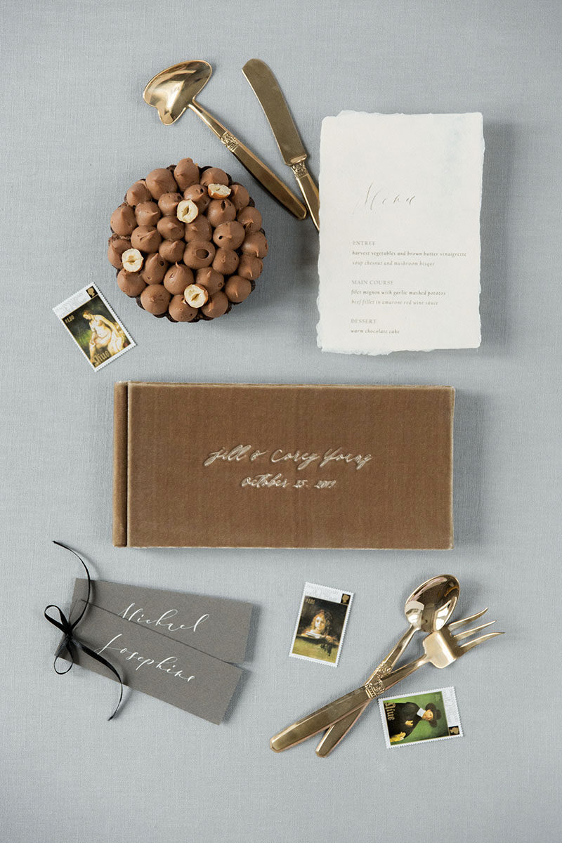 Bark-and-Berry-Taupe-vintage-velvet-wedding-embossed-monogram-21x10-guest-book-005