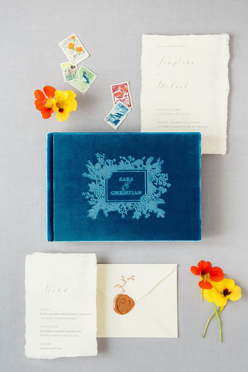 Bark-and-Berry-Peacock-vintage-velvet-wedding-embossed-monogram-guest-book-001