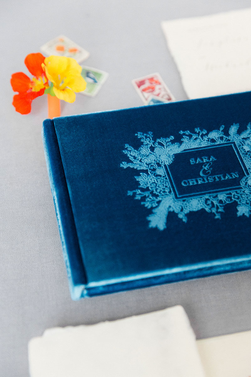 Bark-and-Berry-Peacock-vintage-velvet-wedding-embossed-monogram-guest-book-003