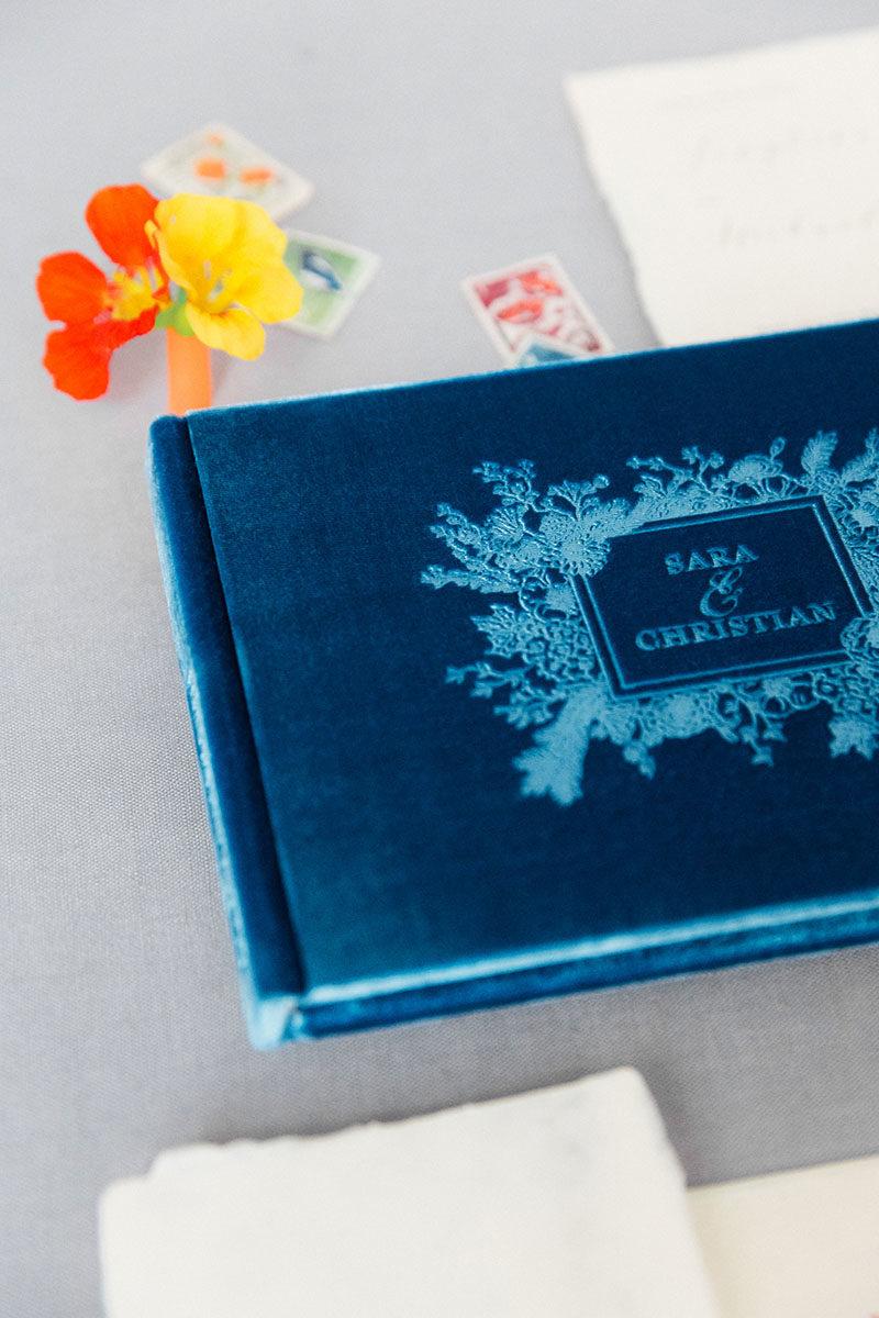 Bark-and-Berry-Peacock-vintage-velvet-wedding-embossed-monogram-guest-book-003