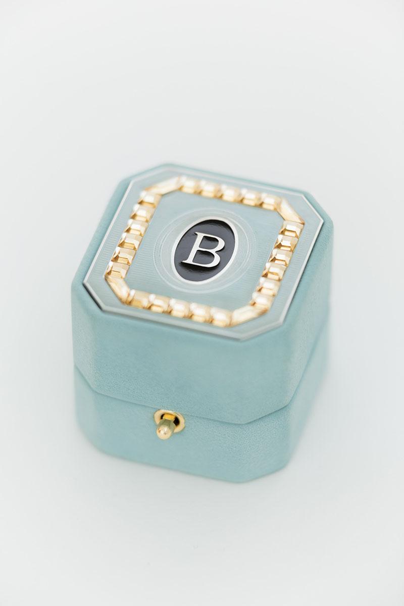 Bark-and-Berry-Grand-Lagune-octagon-vintage-wedding-embossed-monogram-suede-velvet-ring-box-enamel-guilloche-swarovski-001