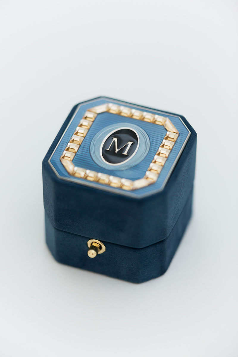 Bark-and-Berry-Grand-Nicholas-octagon-vintage-wedding-embossed-monogram-suede-velvet-ring-box-enamel-guilloche-swarovski-001