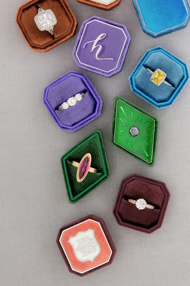 Bark-and-Berry-Mixed-vintage-wedding-embossed-monogram-velvet-petite-ring-box-double-single-slot-enamel-guilloche-002