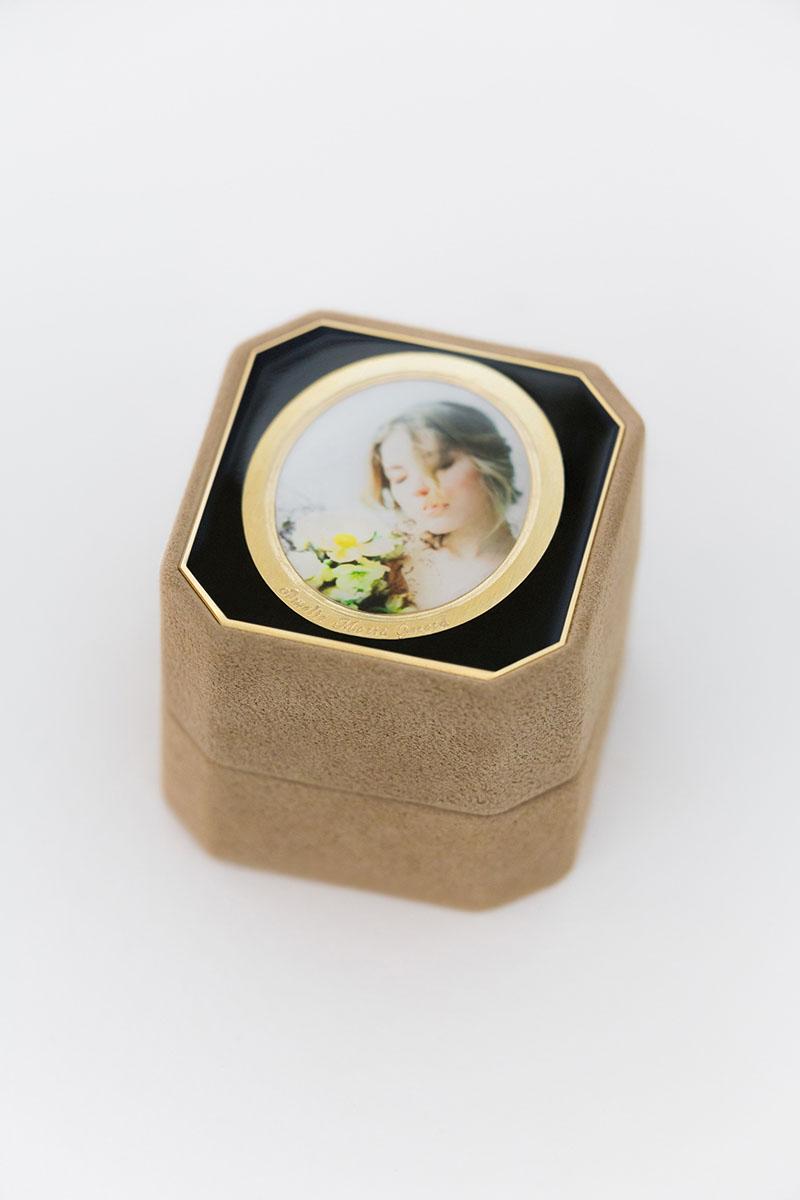 Bark-and-Berry-Grand-Beatrice-octagon-vintage-wedding-embossed-individual-monogram-velvet-suede-ring-box-photo-enamel-guilloche-001