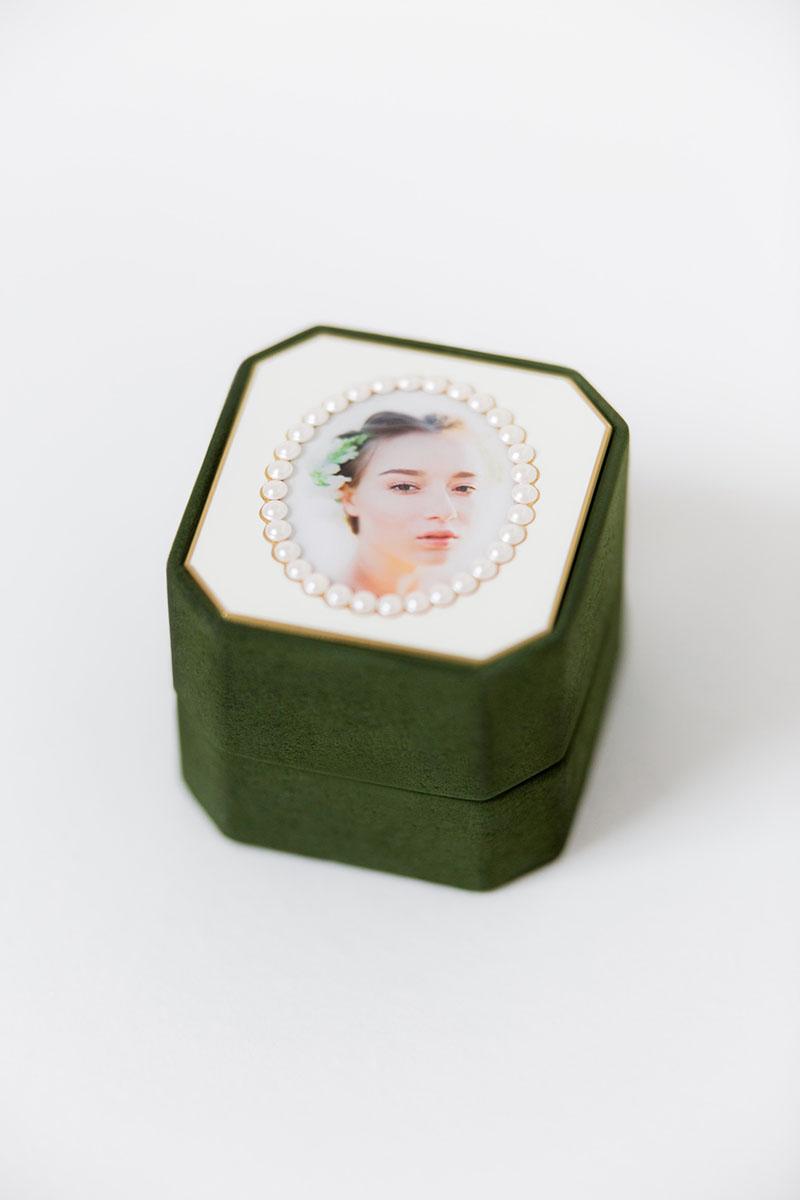 Bark-and-Berry-Grand-Charlotte-octagon-vintage-wedding-embossed-individual-monogram-velvet-suede-ring-box-photo-enamel-guilloche-swarovski-001