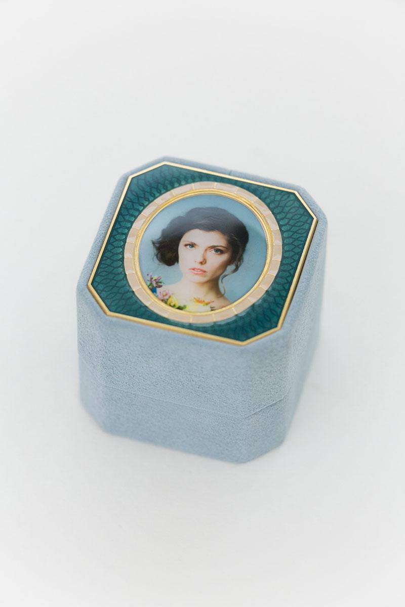 Bark-and-Berry-Grand-Grace-octagon-vintage-wedding-embossed-individual-monogram-velvet-suede-ring-box-photo-enamel-guilloche-002
