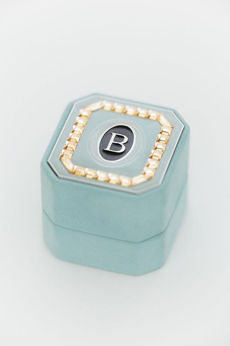 Bark-and-Berry-Grand-Lagune-octagon-vintage-wedding-embossed-monogram-suede-velvet-ring-box-enamel-guilloche-swarovski-001 (2)