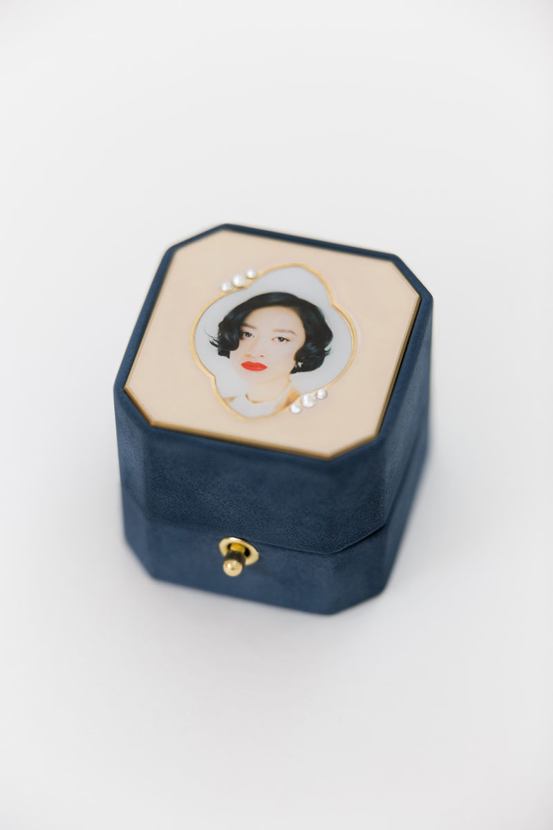 Bark-and-Berry-Grand-Nicholas-octagon-lock-vintage-wedding-embossed-individual-monogram-velvet-suede-ring-box-photo-enamel-guilloche-swarovski-001