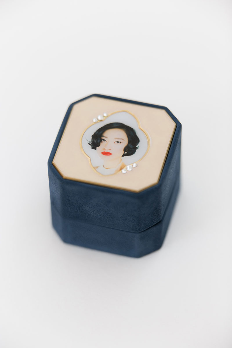 Bark-and-Berry-Grand-Nicholas-octagon-vintage-wedding-embossed-individual-monogram-velvet-suede-ring-box-photo-enamel-guilloche-swarovski-001