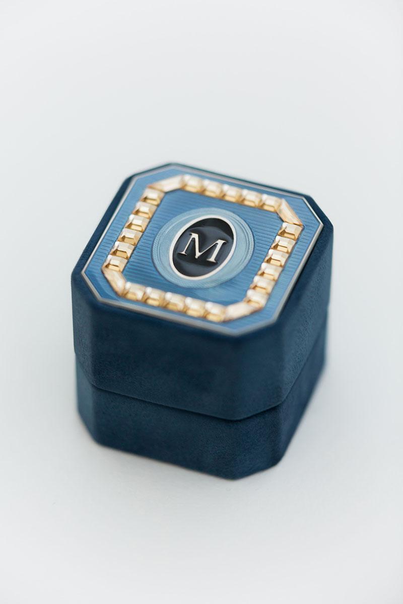 Bark-and-Berry-Grand-Nicholas-octagon-vintage-wedding-embossed-monogram-suede-velvet-ring-box-enamel-guilloche-swarovski-001 (2)