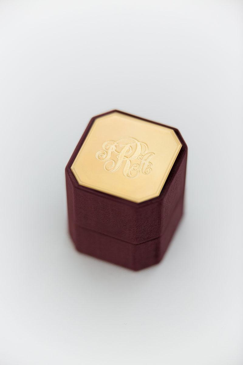 Bark-and-Berry-Petite-Prune-octagon-vintage-wedding-embossed-individual-monogram-velvet-ring-box-enamel-guilloche-002