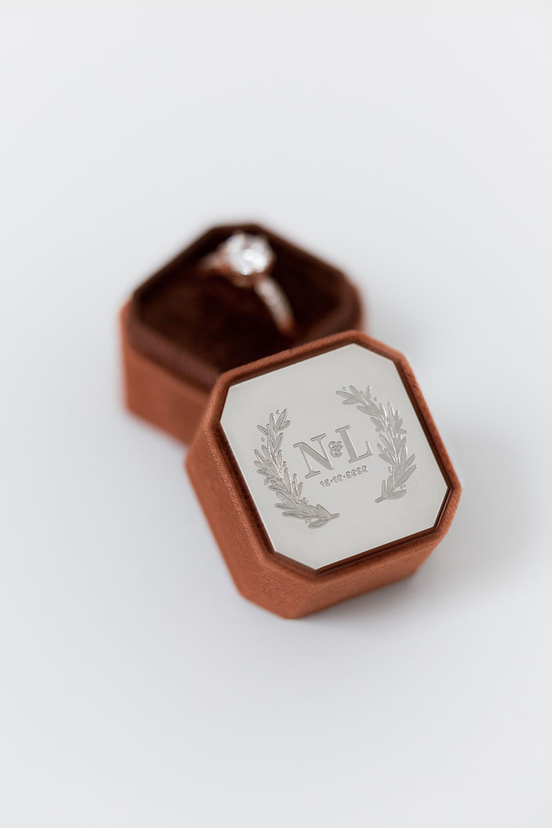 Bark-and-Berry-Petite-Cognac-octagon-vintage-wedding-embossed-individual-monogram-velvet-ring-box-enamel-001